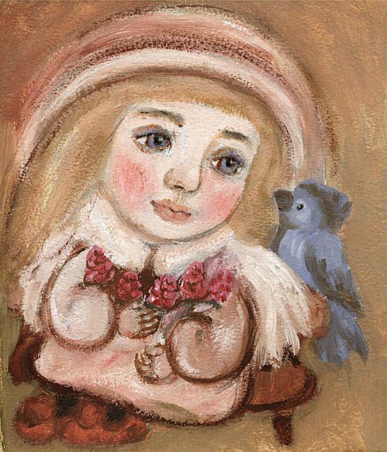 Картина Ангел с веточкой малины