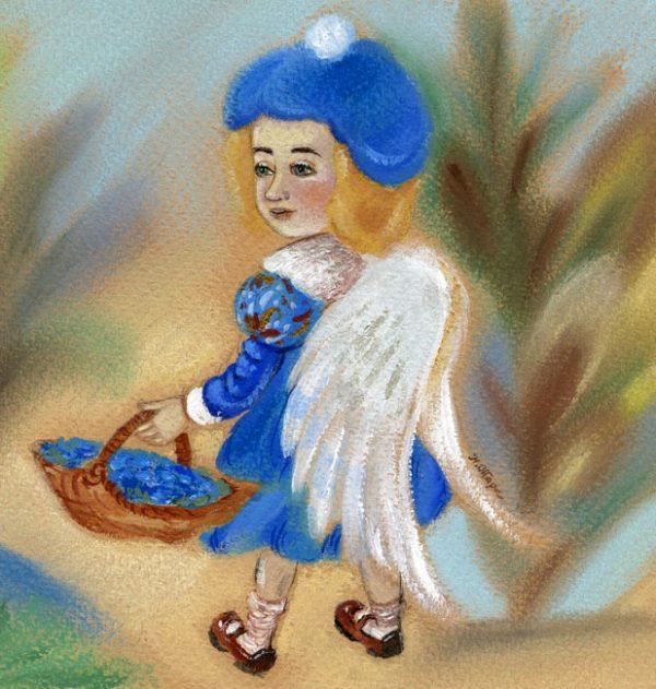 Картина Ангел с корзиной цветов