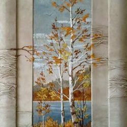Картина из натуральной кожи «Осеннее настроение»