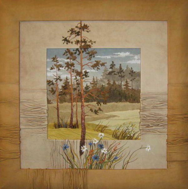 Картина «Сосны и цветы.»
