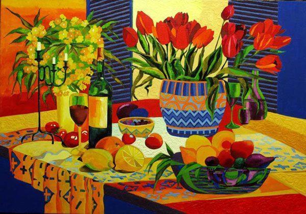 """Картина """"Тюльпаны на синем"""""""