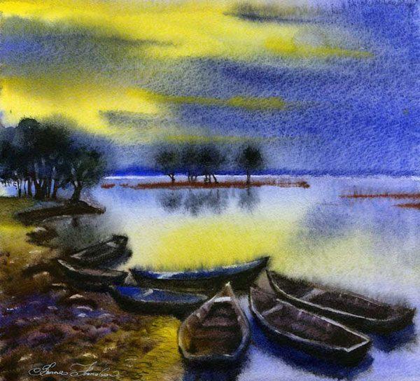 """Картина """"Вечер. Озеро. Лодки"""""""