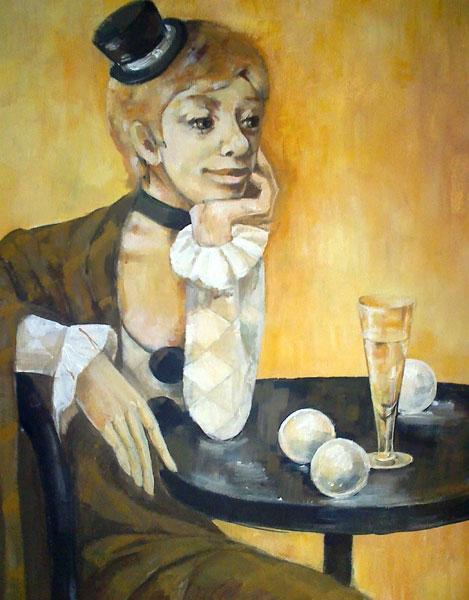 Картина Коломбина с бокалом