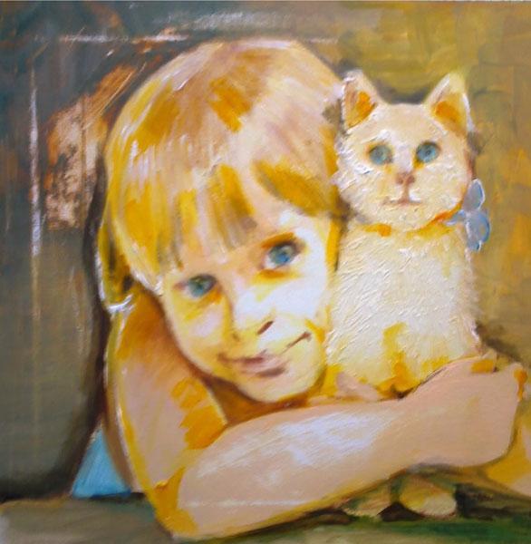 Картина Девочка с котом
