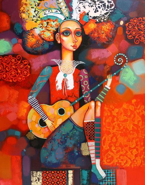 """Картина """"Девушка с гитарой"""", 2010 г."""