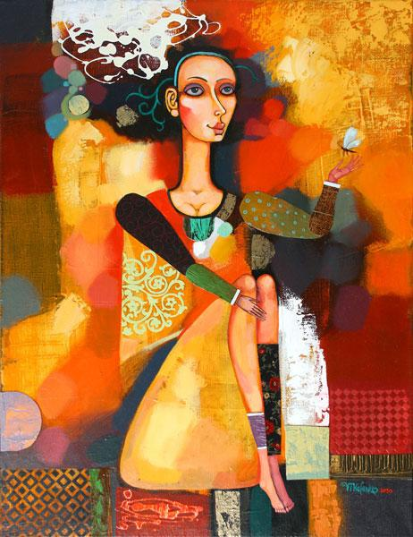 """Картина """"Девушка с мотыльком"""", 2010 г."""