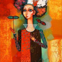 """Картина """"Девушка с масками"""", 2010 г."""