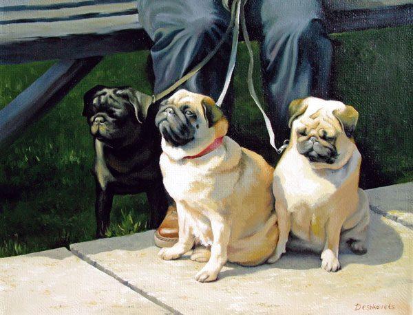Картина Три мопса