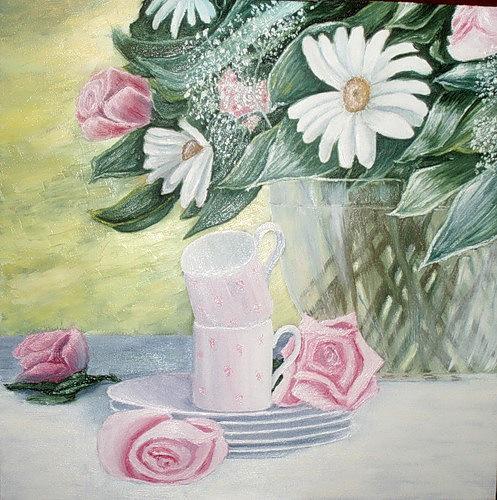 Картина Скоро чай в саду