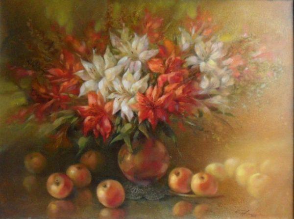 """Картина """"Лилии  и яблоки"""""""