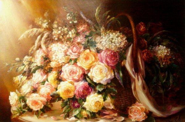 "Картина ""Розы в корзине"""