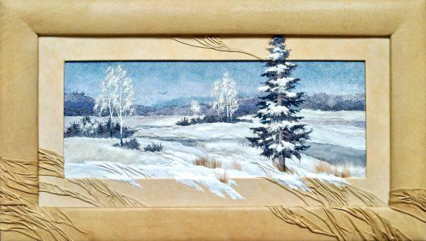 Картина из натуральной кожи «Зимний сон....»