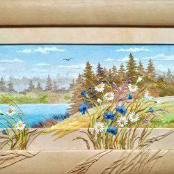 Картина из натуральной кожи «Летний луг»
