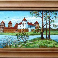 Картина из натуральной кожи «Мирский замок»