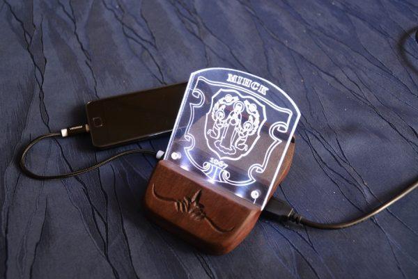"Подставка под телефон с гравировкой ""Беларусь"""