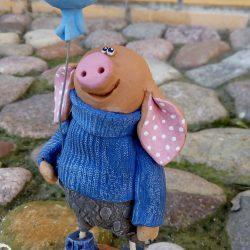 Керамическая фигурка,скульптура.Свинка.