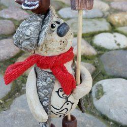 Керамическая фигурка,скульптура.Кот с скворечником.