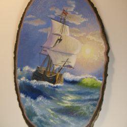 Панно ,,Морской пейзаж,, на срезе тополя.