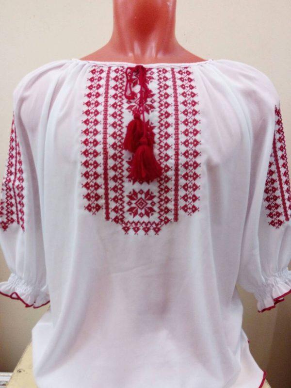 Вышиванка. Женская блузка с красным геометрическим орнаментом и солярными знаками