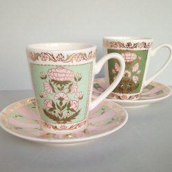 Чашка с блюдцем с ручной росписью