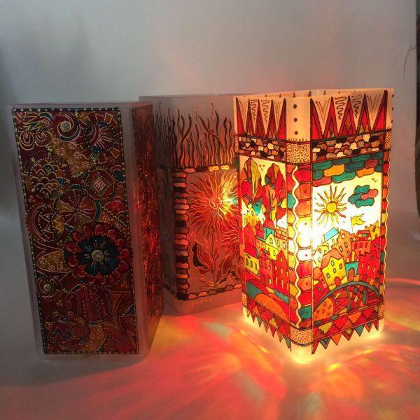 Светильник витражный с ручной росписью