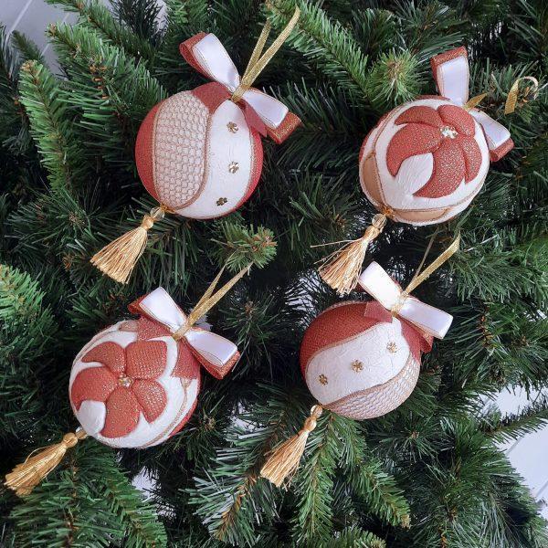 """Комплект новогодних шаров """"Папараць кветка""""(4 штуки в подарочной упаковке)"""