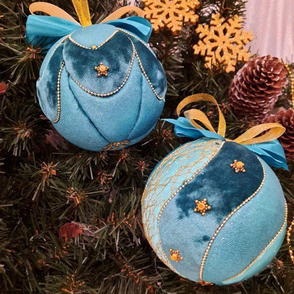 """Комплект новогодних шаров """"Кобальт""""(4 штуки в подарочной упаковке"""