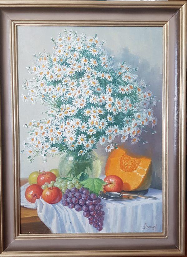 Картина '' Пионы '' холст/масло 60х50см