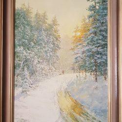 Картина '' Снежный февраль '' холст/масло. 70х50см