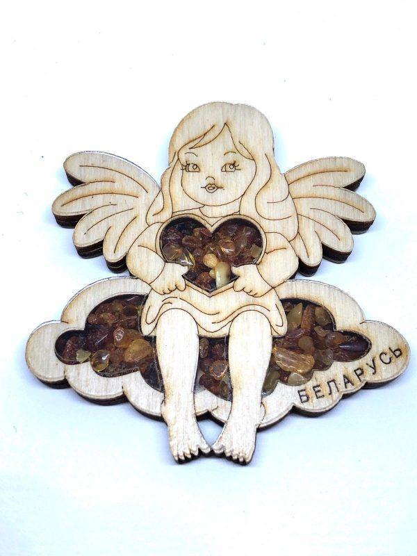 """Магнит деревянный с янтарем на холодильник """" Ангел девочка"""""""
