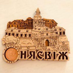 """Магнит деревянный с монетой """" Несвиж 1583"""""""