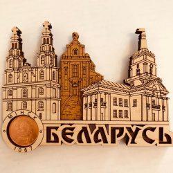 """Магнит деревянный с монетой """" Коллаж Минск"""""""
